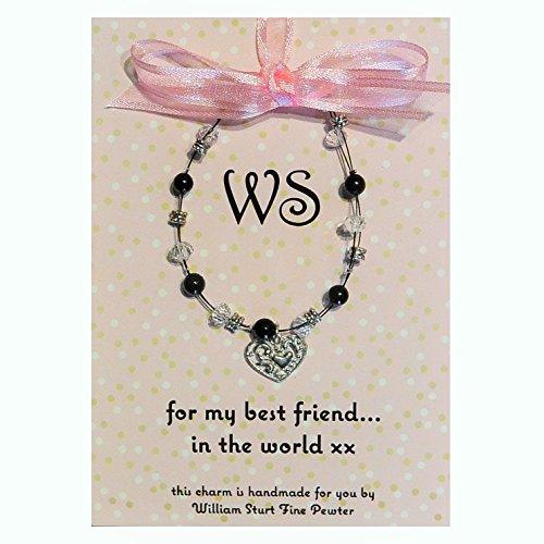 Magnifique Onyx Noir Meilleur ami Bracelet avec charm en étain fait main, par William Sturt