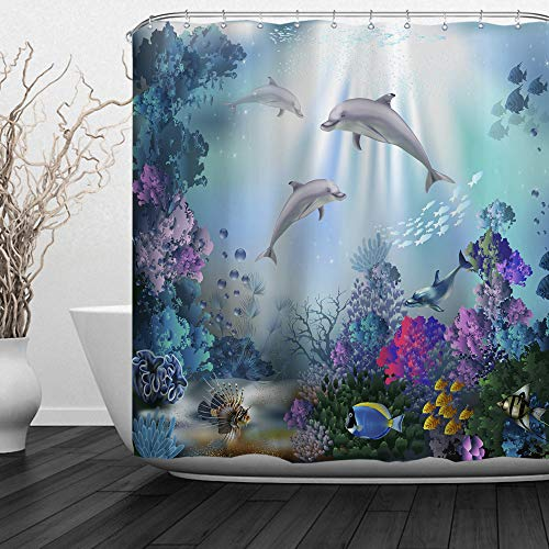 "ALFALFA Kids Ocean Shower Curtain Clear Undersea World Sea Animal Dolphin Colorful Corals Reefs and Tropical Fishes Waterproof Fabric, 60"" W x 72"" H (150CM x 180CM) - Three Dolphins"