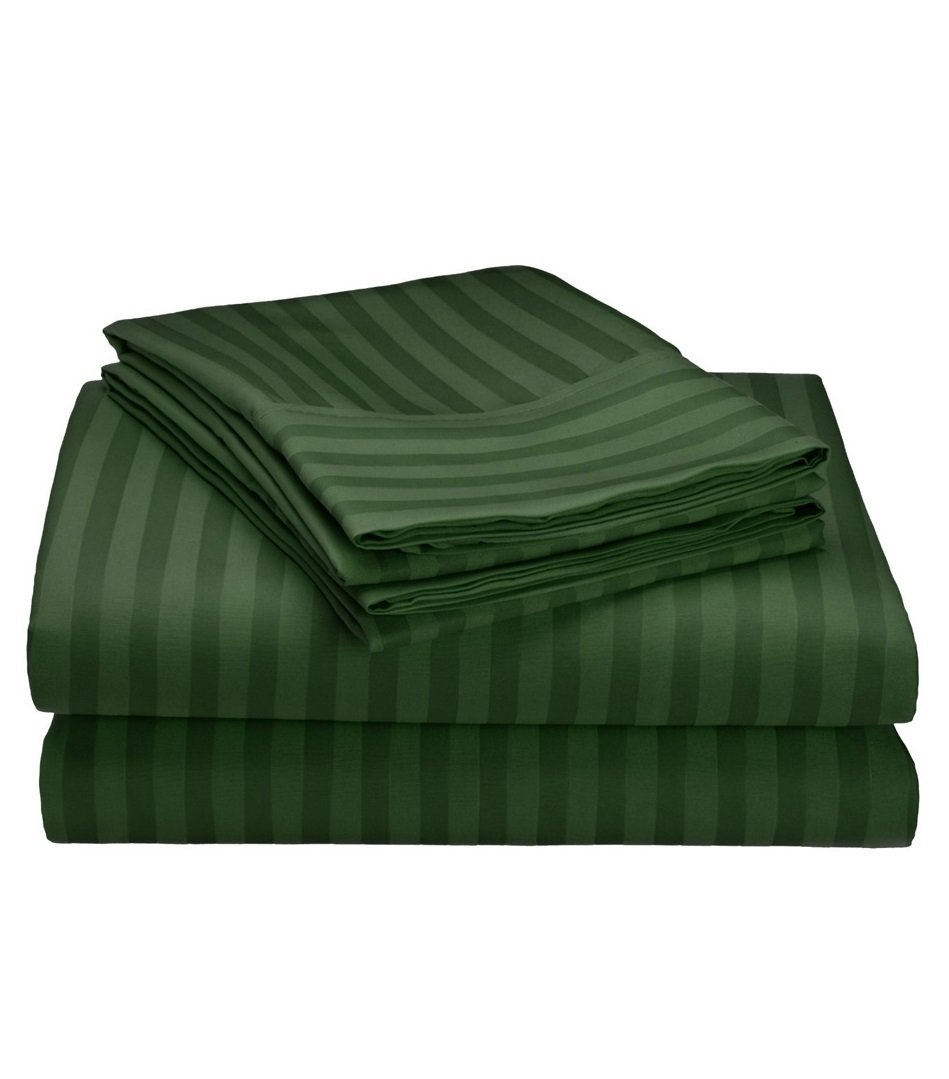 1800 Series Wrinkle Resistant 4 Piece Queen Size Embossed Stripe Sheet Set - Dark Green