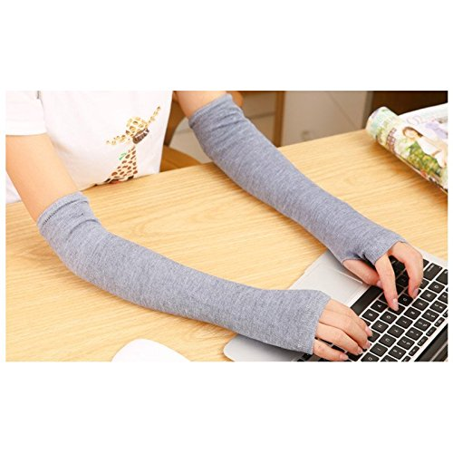 Beyondfashion New Blue Stripe Fashion Ladies Girls Soft Arm Warmer Long Sleeve Fingerless Gloves