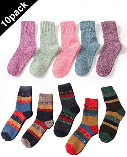 5 Pairs Womens Vintage Style Winter Thick Knitting Warm Wool Crew Socks