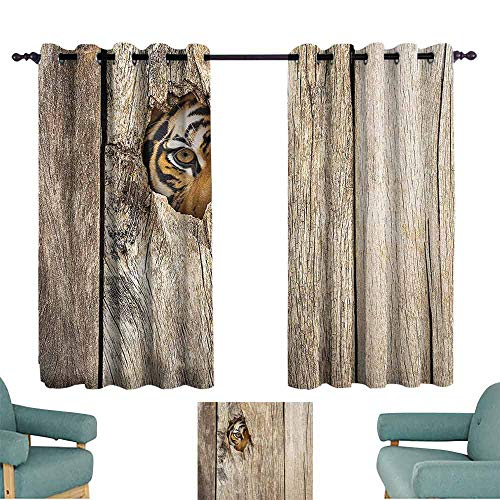 (DILITECK Decor Curtains Safari Decor Siberian Tiger Eye Looking Through Wooden Peep Hole in Spy Predator Big Cat Wild Light Blocking Drapes with Liner W63 xL72 )