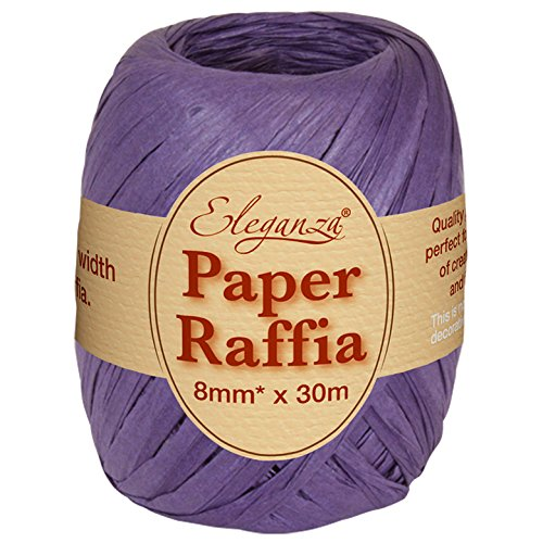Eleganza 8 mm x 30 m Paper Raffia for Variety of Craft Projects and Gift Wrapping, No.36 Purple Oaktree UK 630109