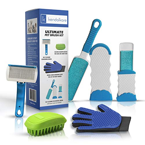 Dog Brush Kit - Dog Brushes for Shedding - Grooming Glove - Pet Hair Remover for Dogs/Cat - Bundle and Save - Durable Wire Brush - Small Animals with Short and Long Hair/Fur - Deshedding Brush ()
