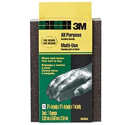3M 907NA Small Area Sanding Sponge, 3.75 in by 2.625 in by 1 in, Extra Fine/Fine