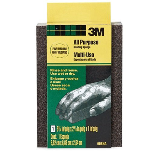 3M 907NA Small Area Sanding Sponge, 3.75 in by 2.625 in by 1 in, Extra Fine/Fine (Sanding Sponge Fine)