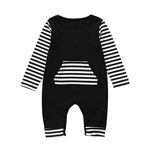 a12395f4b1c9 Amazon.com  Cute Toddler Baby Girls Boys Cotton Striped Romper Long ...