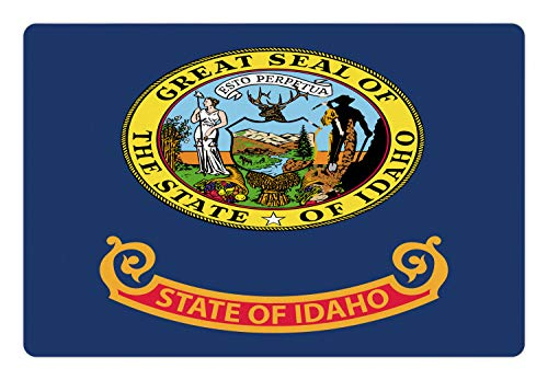 - Ambesonne Idaho Pet Mat for Food and Water, Gem State Flag Design Nostalgic Logo in Vibrant Colors Illustration, Rectangle Non-Slip Rubber Mat for Dogs and Cats, Night Blue and Multicolor