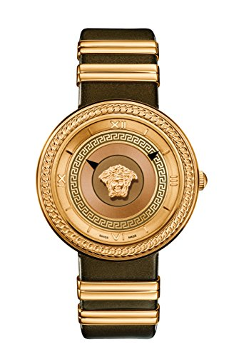 Versace Women's 'V-Metal Icon' Swiss Quartz Stainless Steel and Leather Casual Watch, Color:Brown (Model: VLC130016)