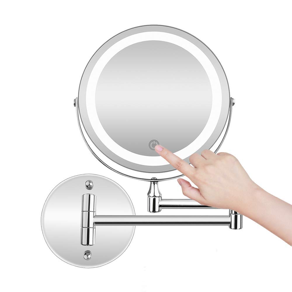La Farah Shaving Mirror Wall Mounted,Double Sided 5X Magnifying Shaving Mirror LED lighted,Battery or USB Powered, Adjustable and Extendable Bathroom Shaving Mirror with Lights by La Farah