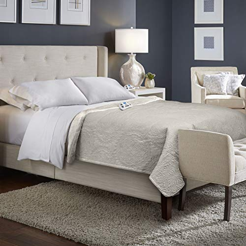 Serta | All | All Season Reversible Quilted Medallion Fast Heating Electric Blanket with Auto Shut Off Off, King, Taupe