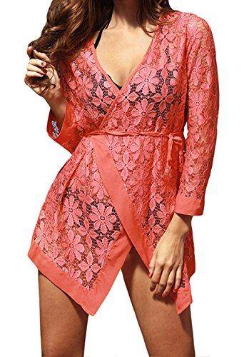 YeeATZ Women Orange Tie up Long Sleeves Lace Bathing Suit Beachwear (Disneyland Halloween Prices)
