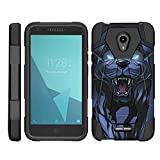 TurtleArmor | Compatible for Alcatel IdealXCITE Case | Alcatel Raven Case [Dynamic Shell] Hybrid Duo Cover Impact Shock Silicone Kickstand Hard Shell Animal Design - Fierce Panther