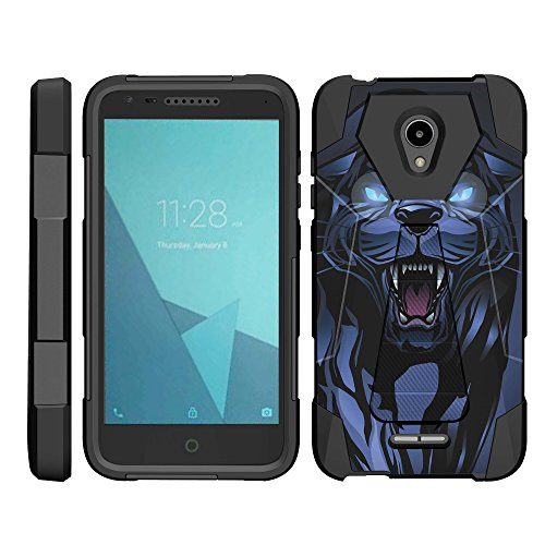 TurtleArmor | Compatible for Alcatel IdealXCITE Case | Alcatel Raven Case [Dynamic Shell] Hybrid Duo Cover Impact Shock Silicone Kickstand Hard Shell Animal Design - Fierce Panther by TurtleArmor