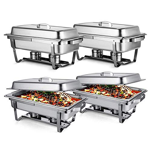 (Mophorn Chafing Dish 4 Packs 8 Quart Stainless Steel Chafer Full Size Rectangular Chafers for Catering Buffet Warmer Set with Folding Frame)