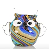 Tooarts Handblown Colorful Owl Animal Figurine Glass Decorative Ornament Gift for Home