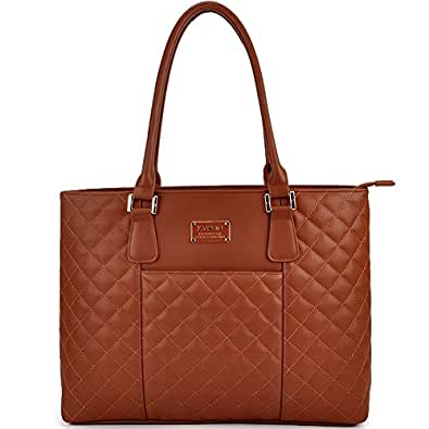 Laptop Tote, 15.6 IN Women Modern Diamond Pattern PU Leather Laptop Bag with Gold-Tone Hardware By ZYSUN(6028,brown)