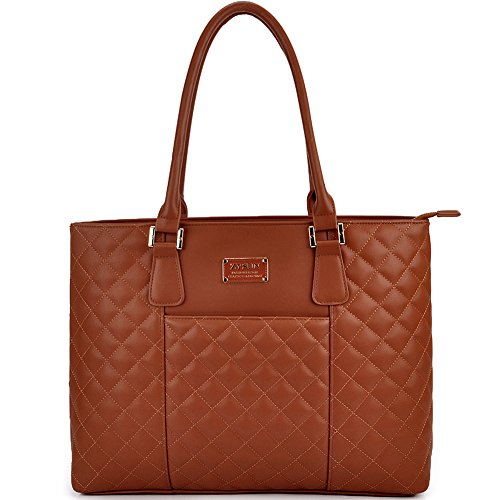 ZYSUN Laptop Tote, 15.6 in Women Modern Diamond Pattern PU Leather Laptop Bag with Gold-Tone Hardware by (6028,Brown)