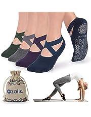 Non Slip Socks for Yoga Pilates Barre Fitness Hospital Socks for Women, 4 Pack