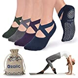 5. Non Slip Grip Socks for Yoga Pilates Barre Anti Skid Hospital Socks for Women