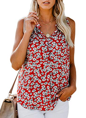 BLENCOT Women's Ladies Sexy V Neck Floral Sleeveless Blouses Soft Loose Tank Tops Work Tunics Res XL (Ladies Sleeveless Blouse)