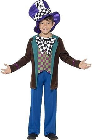 Kids Mad Hatter Costume Boys Wonderland Tea Party Child Fancy Dress Book Day