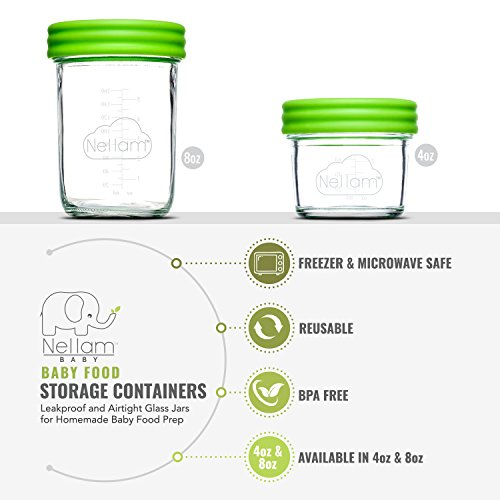 Amazon.com: Nellam Baby Food Storage Containers - Leakproof, Airtight, Glass Jars for Freezing & Homemade Babyfood Prep - Reusable, BPA Free, 12 x 8oz Set, ...