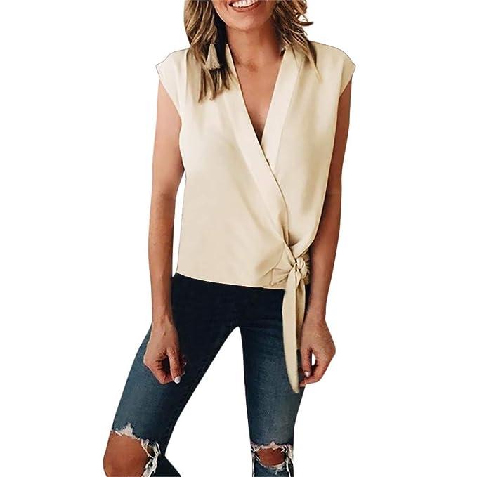a75b19ad1 Geilisungren Camiseta de Tirantes para Mujer Blusas para Mujer Sin Mangas  Mujer Verano Camiseta Tirantes Cuello