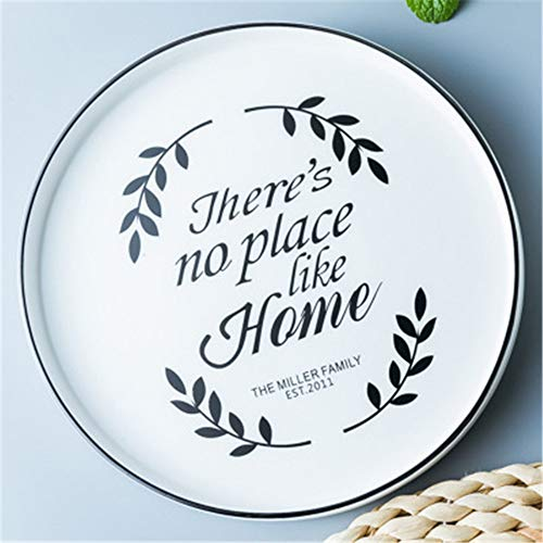 HHXWU Plates dishes home practical garden ceramic disc 8 inch plant text steak plate, HOME