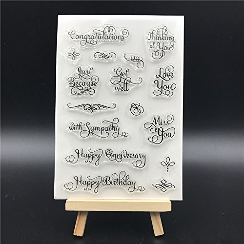 Healifty Silicone Clear Stamps Cling Seal Sheet Rubber Stamps for DIY Scrapbooking Photo Album Diary Decoration