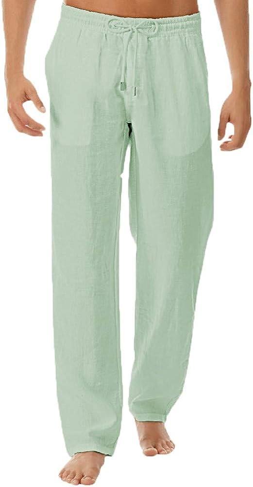 Men's Casual Linen Trousers Elastic