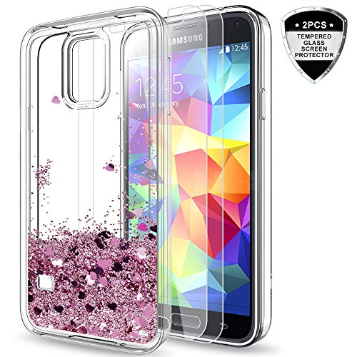 Tempered Glass Screen Protector [2 Pack] for Girls Women, LeYi Bling Shiny Glitter Moving Quicksand Liquid Clear TPU Protective Phone Case for Samsung Galaxy S5 ZX Rose Gold ()