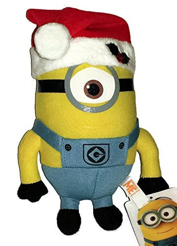 Christmas Minion Stewart 7 Inch (Small) Stuffed Plush Doll Despicable Me Santa Elf Hat