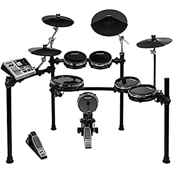 Alesis DM10 Studio Kit | Ten-Piece Professional Electronic Drum Set with Black Aluminum StageRack (Mylar Drum Pads)