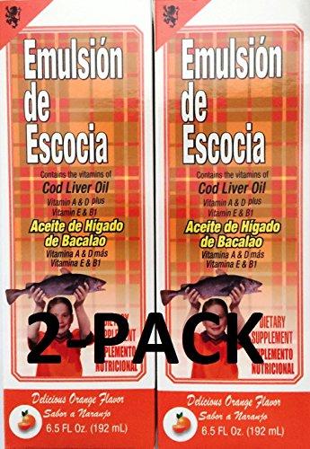 Emulsion De Escocia Orange 6.5 Oz. Cod Liver Oil 2-PACK (Emulsion Scott)