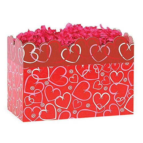 Large Layered Hearts Basket Boxes - 10 1/4 x 6 x 7 1/2in. - 78 Pack by NW