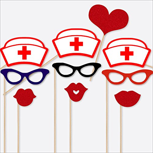 Nurse Theme Photobooth Props 10 Piece Fully Assembled with Real Glitter Nurse Hat, Glasses, Duck Face -