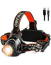OMERIL Lampe Frontale Puissante,Torche Frontale USB Rechargeable LED CREE XML-T6,2000 LM,500 Mètres,3 Modes Eclairage,Zoomable,Réglable,Léger pour Course,Marche,Camping,Câble USB+2 Batterie Fourni