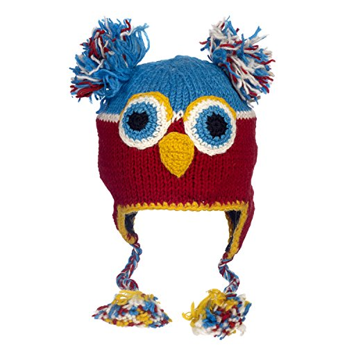 Paper High Women's Fun Owl Handmade Winter Woollen Animal Hat With Fleece Lining One Size Multicoloured