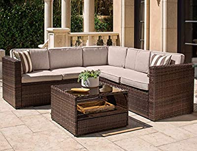 SOLAURA Outdoor Sectional Patio Furniture Brown/Grey/Black Wicker Conversation Sofa Set with Soft Cushion & Glass Coffee Table, Pillows