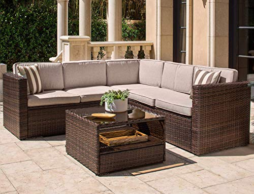 (Solaura Outdoor 4-Piece Sofa Sectional Set All Weather Brown Wicker with Beige Waterproof Cushions & Sophisticated Glass Coffee Table | Patio, Backyard, Pool)