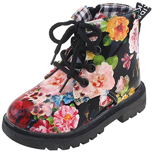 Casual Child Boots (IOO Flower Girls Waterproof Dress Boots With Floral Print Lace Up Fashion Casual Boots For Toddler Girl Black 21)