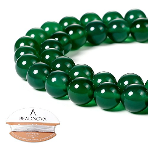 (BEADNOVA 10mm Natural Green Agate Gemstone Round Loose Beads for Jewelry Making)