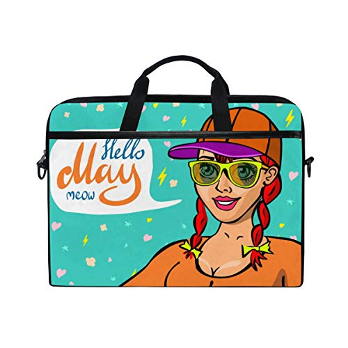 TARTINY 15-15.4 Inch Laptop Bag Red Head Girl Placard Board Text Shoulder Messenger Bags Sleeve Case Tablet Briefcase with Handle Strap