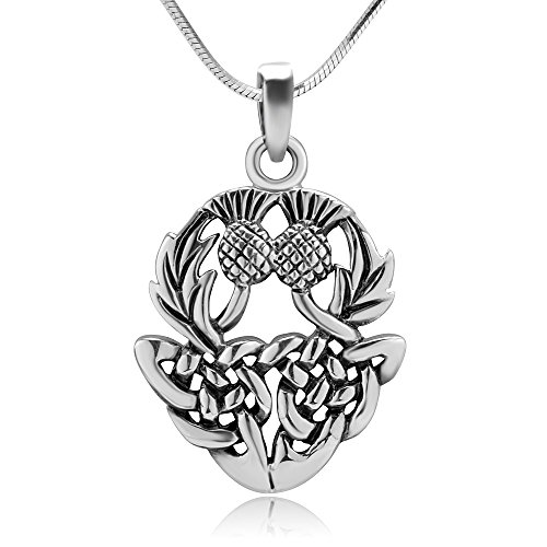 Chuvora Sterling Silver Beautiful Scottish Thistly Cirsium Flower Scotland National Symbol Necklace 18