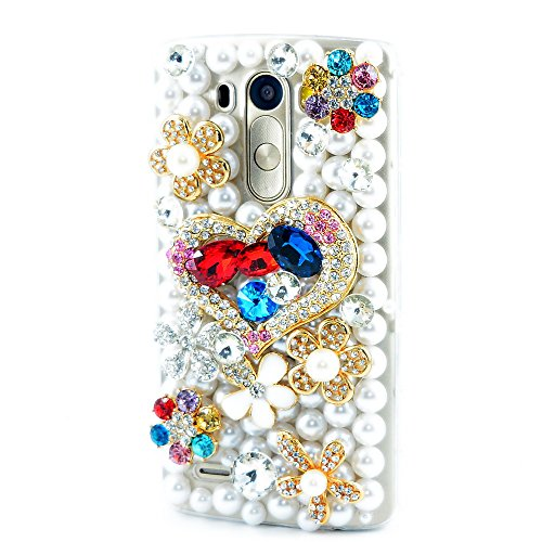 STENES LG G Stylo 2 Plus/LG Stylus 2 Plus Case - [Luxurious Series] 3D Handmade Shiny Crystal Bling Case with Retro Bowknot Anti Dust Plug - Heart Flowers Floral/Colorful