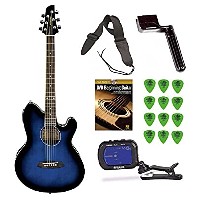 Ibanez TCY10E Talman Acoustic/Electric Guitar (Blue) + Free DVD, Guitar Pics, Strap, String Winder and Tuner