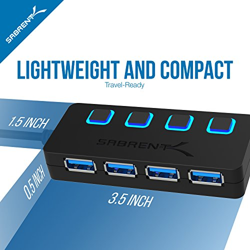 Sabrent USB Type C to 4-Port USB 3.0 Hub with Individual LED Lit Power Switches (HB-UMC4) by Sabrent (Image #6)