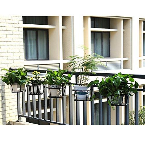 YQQ Balcony Flower Stand Iron Art Fence Hanging Flower Pots Railing Suspension Succulents Windowsill Bonsai Shelves Plant (Ornamental Iron Railing)
