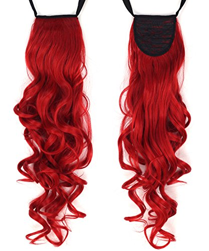 Miss U Hair 24'/60cm 120g Ladies Synthetic Long Curly Ribbon Drawstring Ponytails Hairpiece Clip in on Hair Extensions 21colors (RED)